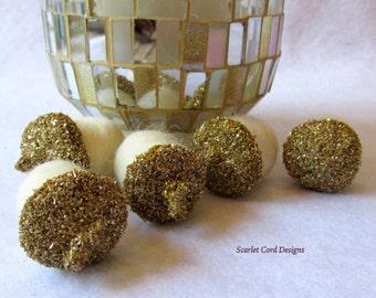 Glitter Acorns, 5 Felted Acorns, Gold German Glass Glitter, Wedding, Golden Anniversary Table Decoration, Party Favor Woodland Theme