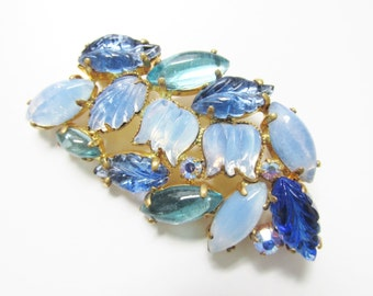 Rhinestone Brooch - Blue Rhinestone - Molded Glass - Costume Jewelry