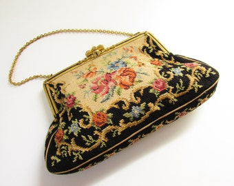 Vintage Antique Black Petite Point Needle Flower Purse