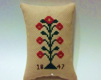 Completed Cross Stitch Pillow ~ Cupboard tuck~ Shelf sitter~ Miniature Pillow ~Home Decor