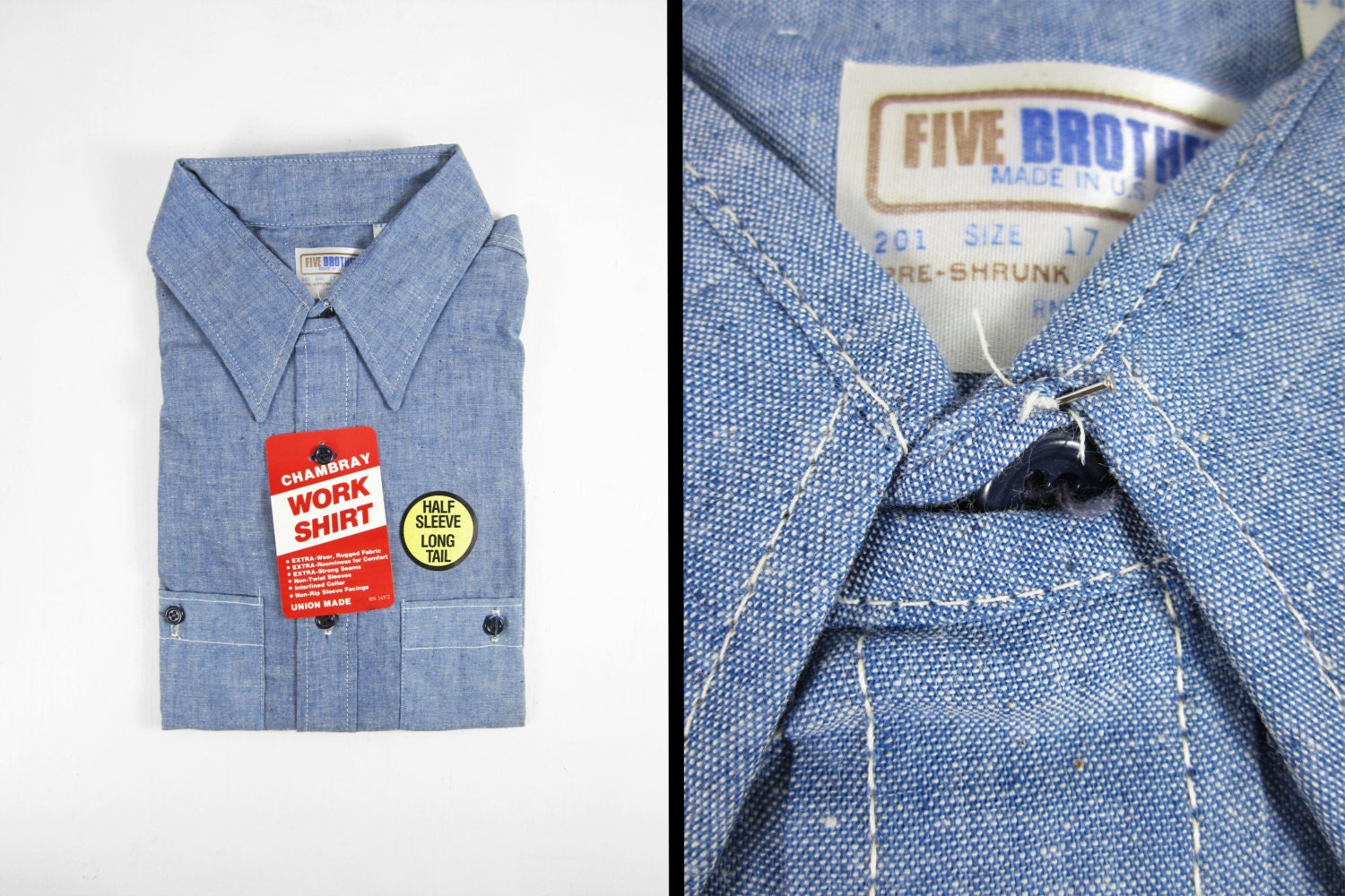 Vintage Five Brother Chambray Shirt Nos 70s Blue Cotton Made