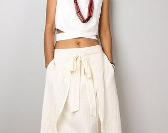 Cream Skirt / Wrap Skirt / Summer Skirt /  Cotton Ecru Skirt  - Boho Maxi Skirt : Nature Touch Collection No.2