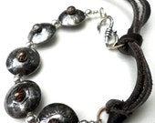 Handmade Southwestern Sterling Silver & Copper Concho Bracelet with Brown Leather