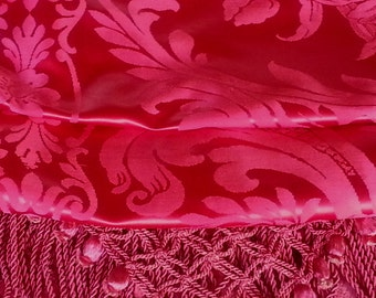 "Vintage Italian Silk Blend Bedspread, Deep Raspberry Red, 94""l. x 111""w."