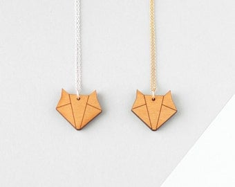 Wooden Origami Fox Necklace - Modern Handmade Jewellery
