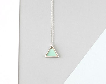 Mini Geometric Two Triangle Metal Necklace (Mint - Silver) - Modern Handmade Jewellery