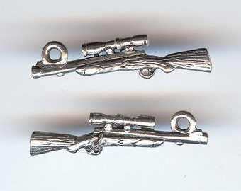 RIFLE Charm. Pewter. 3D Rifle With Scope. Gun. Made in the USA. cnt