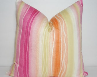 Waterfall Pink Orange Pillow Cover Decorative Pillow Nautical Beach Throw Pillow Cover 18x18