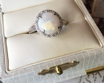 Opal and Diamond Ring, Opal Engagement Ring, Opal Diamond Halo Ring, Opal Birthstone Ring, 14K White Gold Jewelry