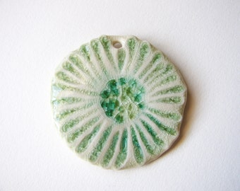 Sea Foam Green Ocean Flower Pendant Stoneware Clay