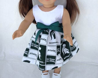 18 inch Doll Game Day Dress of  Michigan State block fabric,  made to fit 18 inch dolls such as American Girl and similar 18 inch dolls