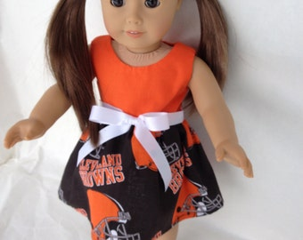 18 inch DollGame Day  Dress of Cleveland Browns fabric,  made to fit 18 inch dolls such as American Girl and similar 18 inch dolls