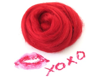 Red Tussah Silk Top, Red Tussah Silk, 1oz Passion Red Silk, Red Tussah Silk for Felting, Passion Red Silk Top, Red Silk Top for Nuno Felt