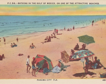 Panama City, Florida Beach, Gulf of Mexico - Linen Postcard - Unused (H1)
