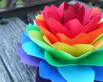 Single Rainbow Dahlia. ROYGBIV. Cake Topper, Wedding, Gift, Decoration, Anniversary, Birthday, Gay Pride.