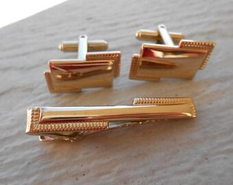 Vintage Abstract Gold Cufflinks & Tie Clip  Christmas, Wedding, Men's, Groomsmen Gift, Dad.