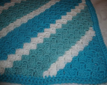 """Afghan - Baby Blanket or Lap-size - Generous Size 47"""" Square - Turquoise/Aqua Great for Girl or Boy - Handmade Crochet Gift"""