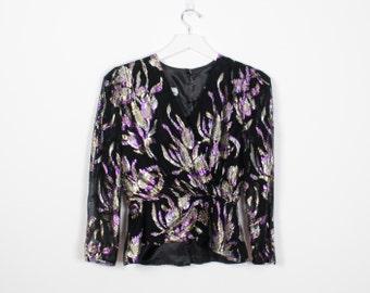 Vintage 80s Blouse Black Gold Silver Purple Metallic Floral Print Secretary Blouse Long Sleeve 1980s Glam Shirt Top Peplum Shirt M Medium