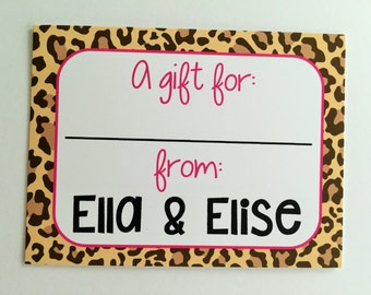 Personalized Pink and Leopard Gift Wrapping Tags, Happy Birthday Tags, Kids Gift Tags, Gift Wrapping Labels, Custom Gift Tags, Set of 12