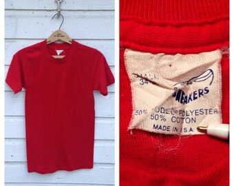 Early 1980's blank red t-shirt, small
