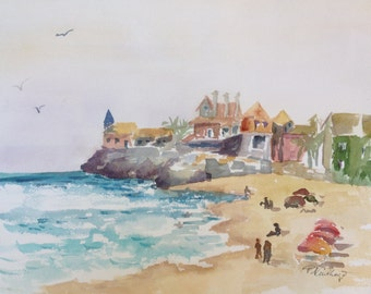 Estoril Portugal Watercolor Original Landscape