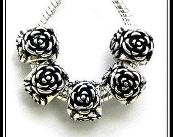 Very Lovely ~ 4-Sided ROSES - ANTiQUE Silver Plated Charm Bead - fits European Bracelets - MS-1318