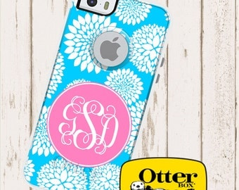 Monogrammed OtterBox Commuter Phone Case, Personalized OtterBox, iPhone 6, 6 Plus, iPhone 5/5S/5C, Galaxy S5 Blooms