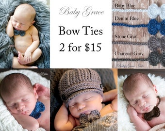 Baby Bow Ties, Newborn Boy Bow Tie, Newborn Photo Prop, Newborn Bow tie, Crochet Bow, Baby Boy, Newborn Boy Bow Tie Set, Photography Prop