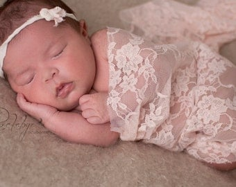 Newborn Photo Outfit, Baby Wrap and Newborn Headband, Stretch Lace Wrap, Newborn Girl Photo Prop, Photography Prop Wrap