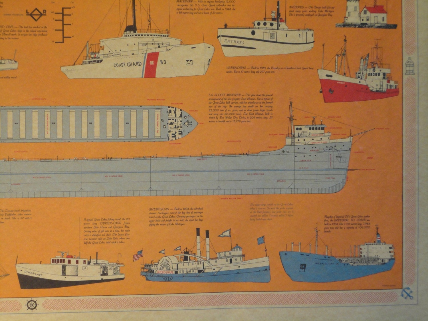 Vintage Retro Great Lakes Ships Vessels Boats Map Poster