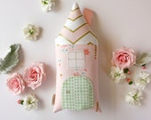 Tooth Fairy Pillow House Metallic Gold, Pink, Peach, Coral, Girls Children Stuffed Toy Secret Door Keepsake, Special Edition