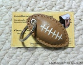 100% handmade hand stitched cowhide leather football keychain / key holder