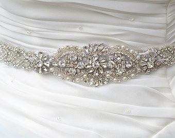 Wedding Belt, Bridal Belt, Sash Belt, Crystal Rhinestones & Pearls sash  party sash