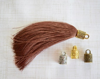 Light Brown Silky Tassel Pendant -90mm- Assorted Tassel Cap Finishes - Handmade Jewelry Supply - 1 Piece (SK478)