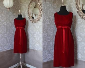 Vintage 1960's Crimson Red Velvet and Satin Dress S/M