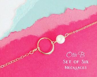 Bridal jewelry gift Set of 6: Six eternity necklaces for bridesmaids, Bridesmaid gifts, bridesmaid jewelry, karma jewelry, Bridesmaid