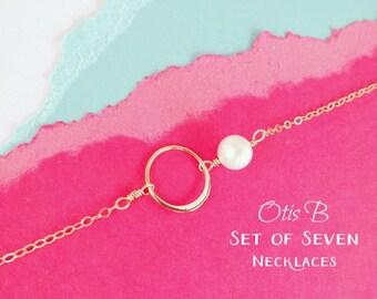 Set of SEVEN gold eternity karma circle necklaces, Bridesmaid gifts, bridesmaid necklaces, Boxed gift sets, bridesmaid jewelry