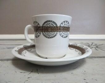 Cup and Saucer Berit Ternell Gefle Sweden Bollar Upsala Ekeby Scandinavian Design Mid Century Modern Danish Modern Circles Teacup Demitasse