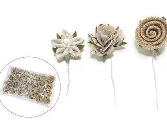 Jute and Fabric Flowers Set of 27 pcs Assorted