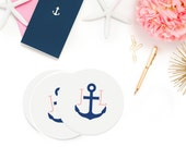 Custom Drink Coasters - Nautical Anchor with Initials