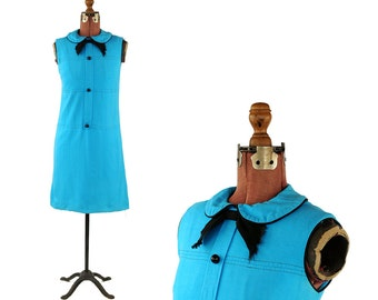 Vintage 1960's Bright Electric Blue Soft Rayon Linen Mod Bow Tie Preppy Shift Scooter Dress S