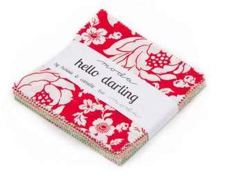 In stock Hello Darling cotton charm pack by Bonnie and Camille for Moda fabric