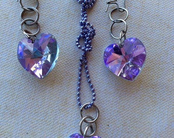 Jewelry Sets, Necklace, Earrings, Unique Necklace, Vintage Earrings, Swarovski Necklace, Lavender Crystal, Old Hollywood Estate Style