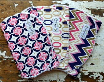 Baby Girl Burp Cloths - Moroccan Medallions, Windows and Chevron - Set of 3 - Navy, Coral, Pink and Metallic Gold