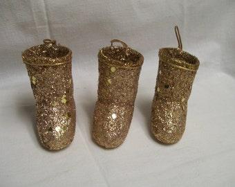 Vintage Santa Boots Ornaments Lot of 3 Gold Glitter Bling
