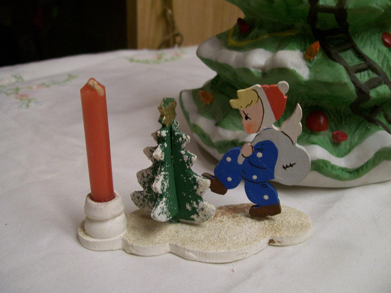 German Christmas Candleholder Vintage Wood Girl Tree Candle