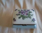 Handpainted Trinket Box porcelain with Violets