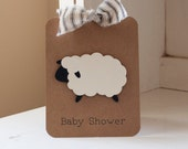 Sheep Lamb Baby Shower Invitations Neutral Thank You Notes Ticking Stripes Kraft Rustic VIntage