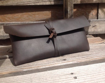Leather Clutch in Dark Brown