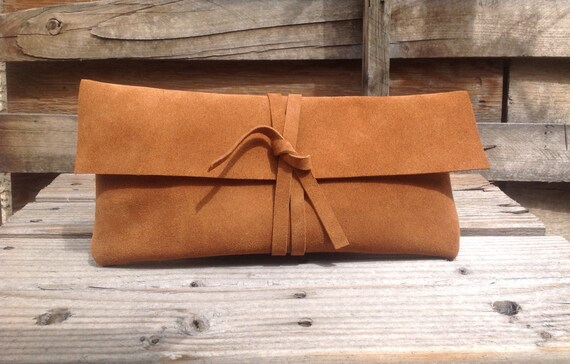 Brown Suede Clutch